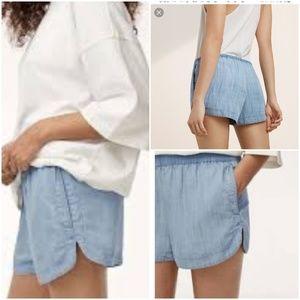 Aritzia Tna Trope Shorts Blue Chambray